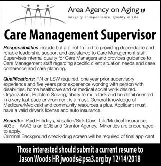 Care Management Supervisor