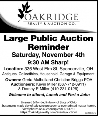 Large Public Auction Reminder