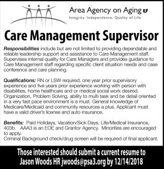 Care Management Supervisor