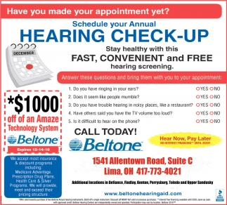 Hearing Check-Up, Beltone Hearing Care Center, Lima, OH