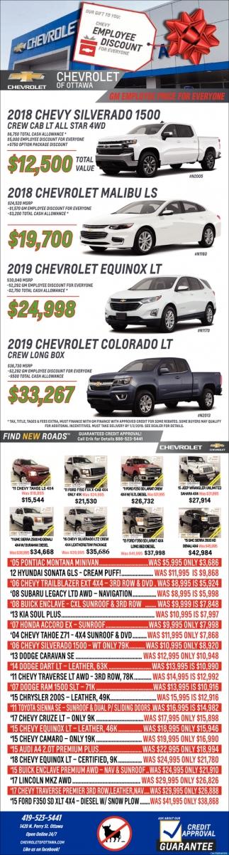 Gm Employee Price For Everyone Chevrolet Of Ottawa Ottawa Oh