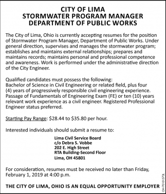 Stormwater Program Manager, Department of Public Works