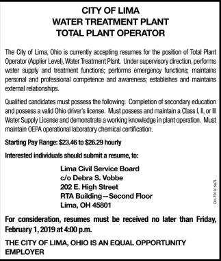 Water Treatment Plant, Total Plant Operator