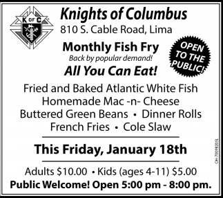 Monthly Fish Fry, All You Can Eat!
