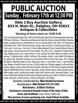 Public Auction February 17th
