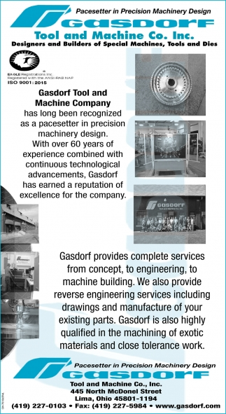 Designers and Builders of Special Machines, Tools and Dies