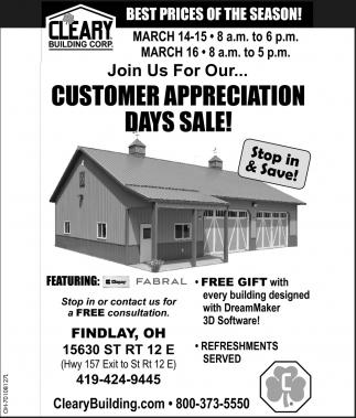 Customers Appreciation Days Sale!