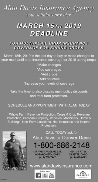 For multi-peril crop insurance coverage for spring crops