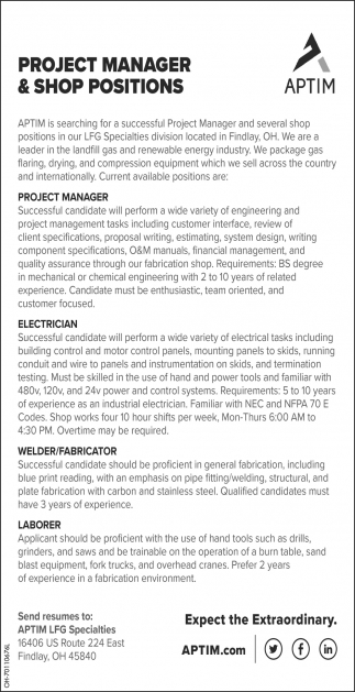 Project Manager & Shop Positions