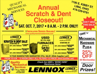 Annual Scratch & Dent Closeout
