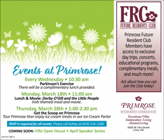 Events at Primrose!