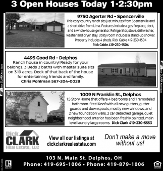 3 Open Houses - Spencerville - Delphos
