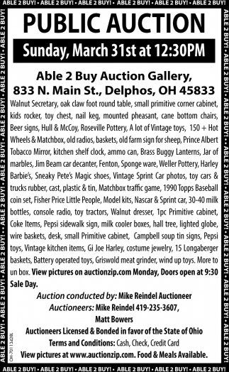 Public Auction, March 31st