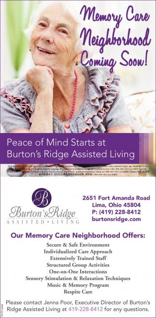 Memory Care Neighborhood Coming Soon!