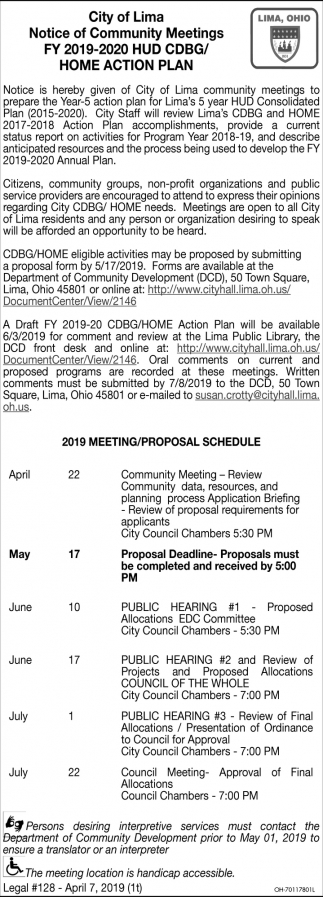 Notice of Community Meetings