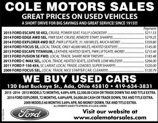 Great Prices on Used Vehicles