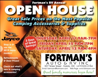 Open House - Great Sale Prices on the Most Popular Camping Accesories & Supplies