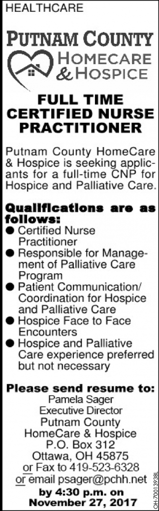 Certified Nurse Practitioner Putnam County Homecare Hospice