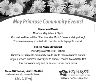 May Primrose Community Events!