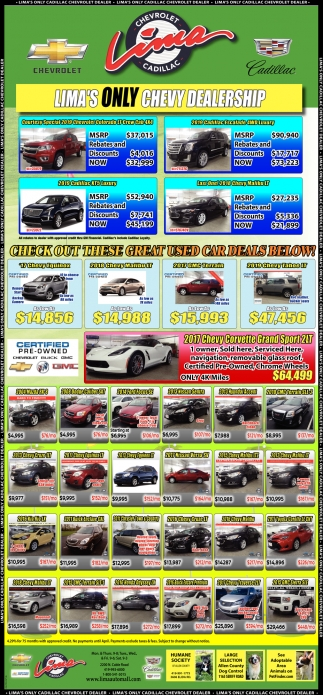 Car Dealerships In Lima Ohio >> Lima S Only Chevy Dealership Lima Chevrolet Cadillac Lima Oh