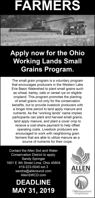 Farmes - Apply now the Ohio Working Lands Small Grains Program