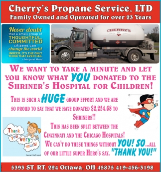 We want to take a minute and let you know what you donated to the Shriner's Hospital for Children!