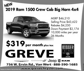 New 2019 Ram 1500 Crew Cab Big Horn 4x4