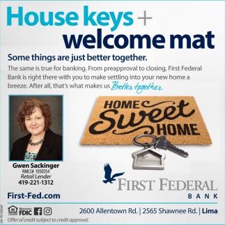 House keys + welcome mat
