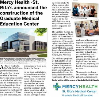 Mercy Health - St. Rita's announced the construction of the Graduate Medical Education Center