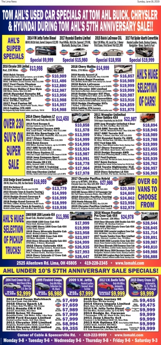Tom Ahl Lima Ohio >> 57th Anniversary Sale Tom Ahl Family Of Dealerships Lima Oh