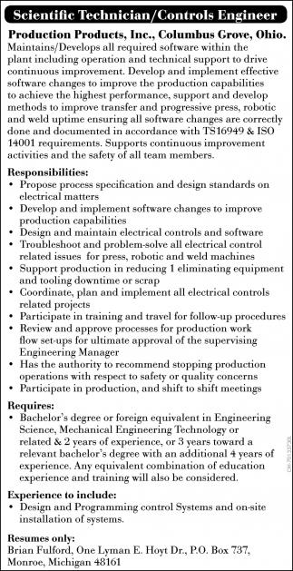Scientific Technician / Controls Engineer