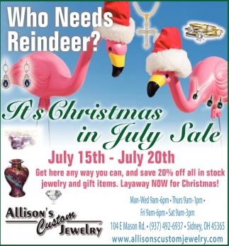 It's Christmas in July Sale