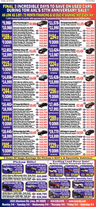 Final 3 incredible days to save on used cars