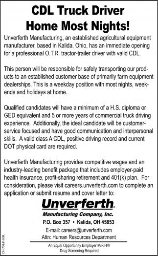 CDL Truck Driver, Unverferth Manufacturing Co., Inc., Kalida, OH