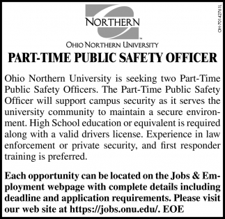 Part - Time Public Safety Officer