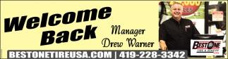 Welcome Back - Manager Drew Warner