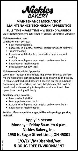 Maintenance Technician - Maintenance Technician Apprentice