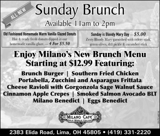Sunday Brunch Available 1am to 2pm