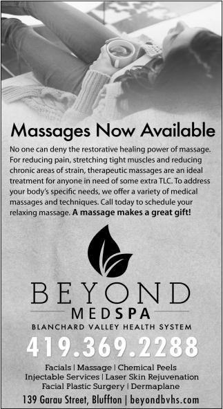 Massages Now Available
