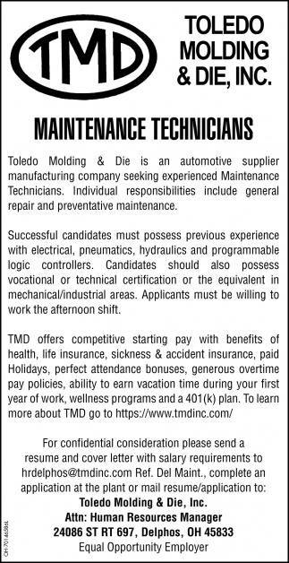Maintenance Technicians, Toledo Molding & Die, Inc, Delphos, OH