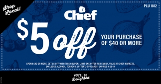 $5 off your purchase of $40 or more