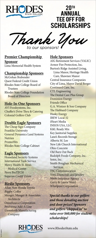 20th Annual Tee Off For Scholarships