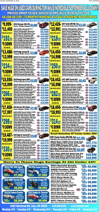 Save huge on used cars during Tom Ahl's incredible september sell down!