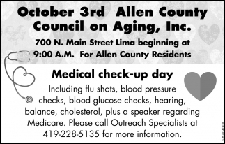Medical check-up day - October 3rd