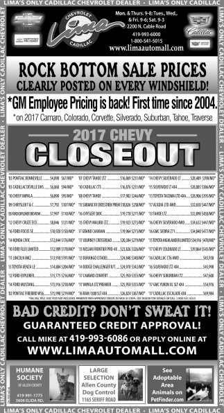 2017 Chevy Closeout