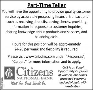 Part Time Teller