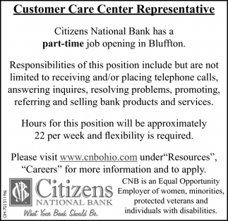 Customer Care Center Representative