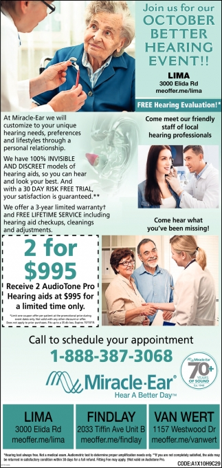 Join us for our October Better Hearing Event!