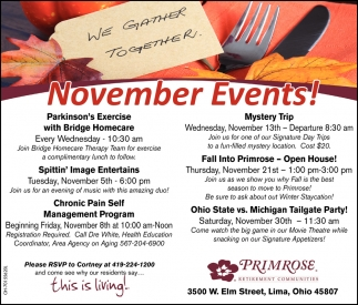 November Events!