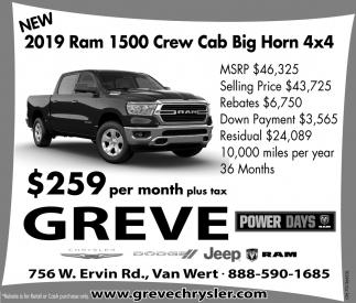 New 2019 Ram Crew Cab Big Horn 4x4